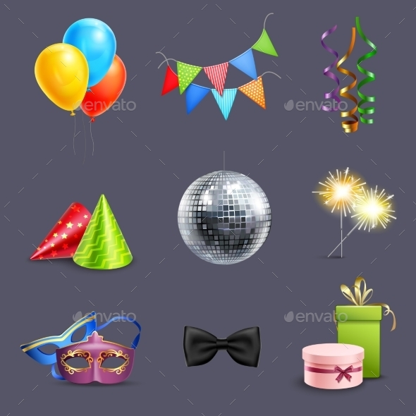GraphicRiver Realistic Celebration Icons 10925639