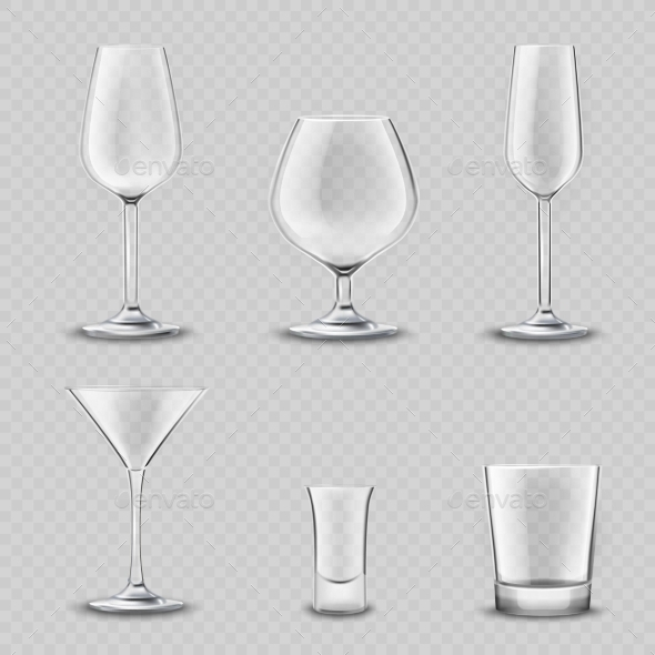GraphicRiver Glassware Transparent Set 10925645
