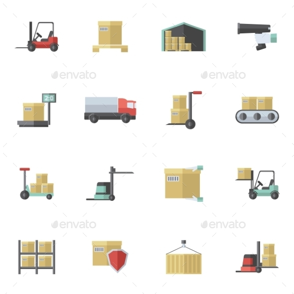 GraphicRiver Warehouse Icons Flat Set 10925695