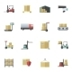 Warehouse Icons Flat Set - GraphicRiver Item for Sale