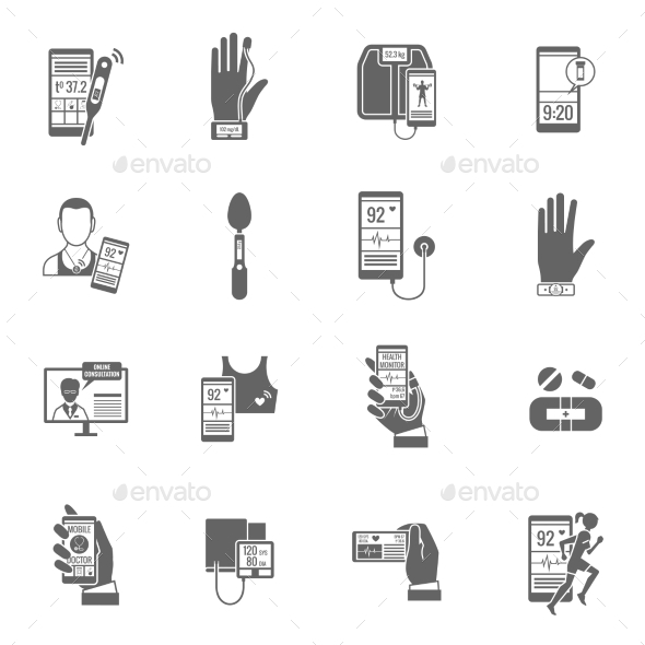 GraphicRiver Digital Health Icons Set 10925776