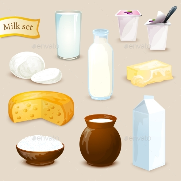 GraphicRiver Milk Products Set 10925785