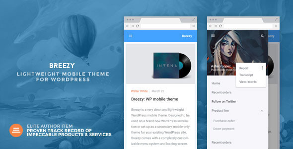 ThemeForest Breezy A Lightweight Mobile Theme for WordPress 10927408