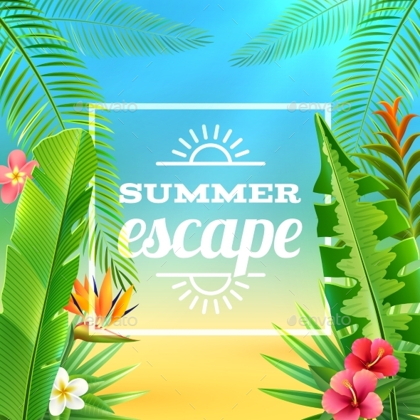 GraphicRiver Tropical Plants Background 10927488