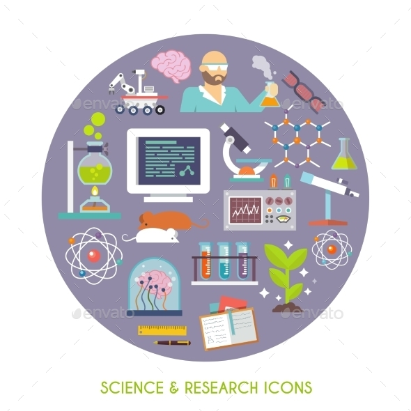 GraphicRiver Science And Research Icon Flat 10927495