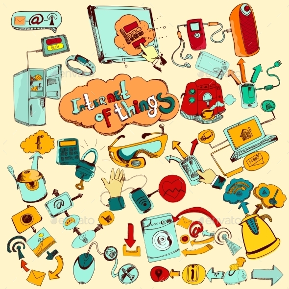 GraphicRiver Internet Of Things Doodles Colored 10927518