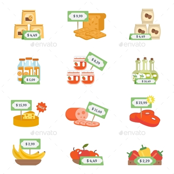 GraphicRiver Supermarket Icons Set 10927666