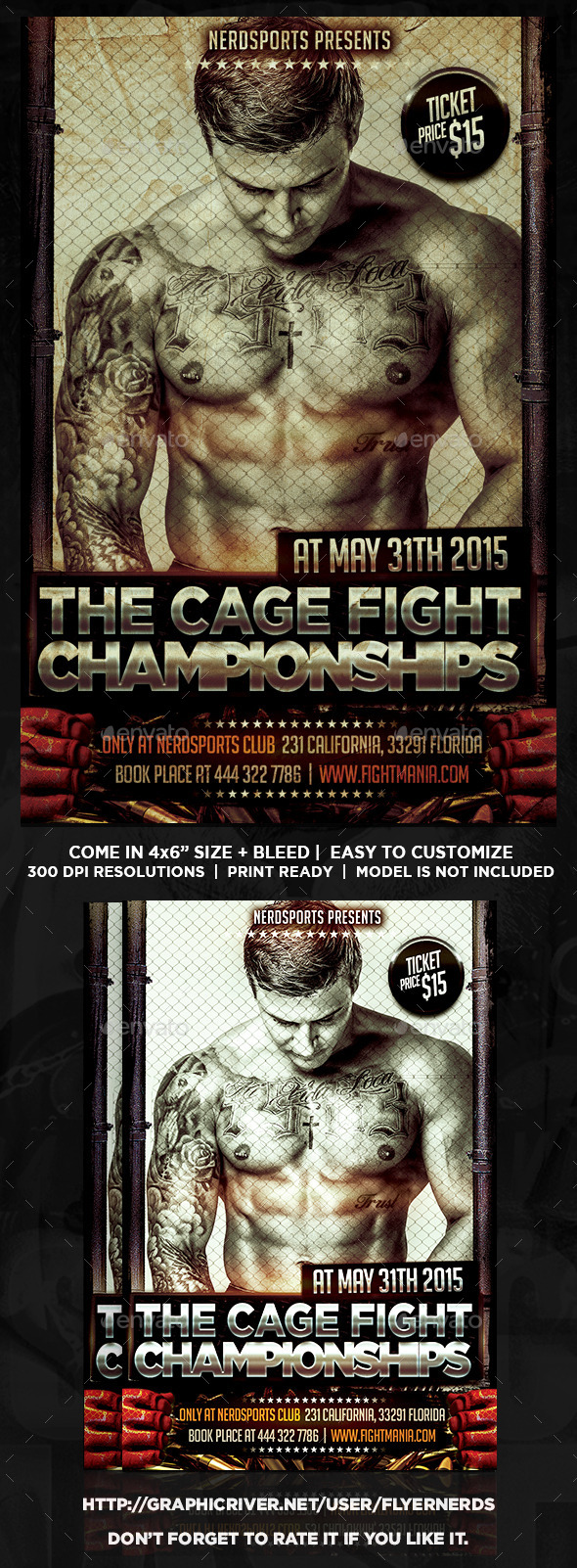 GraphicRiver The Cage Fight Championship Sports Flyer 10863652