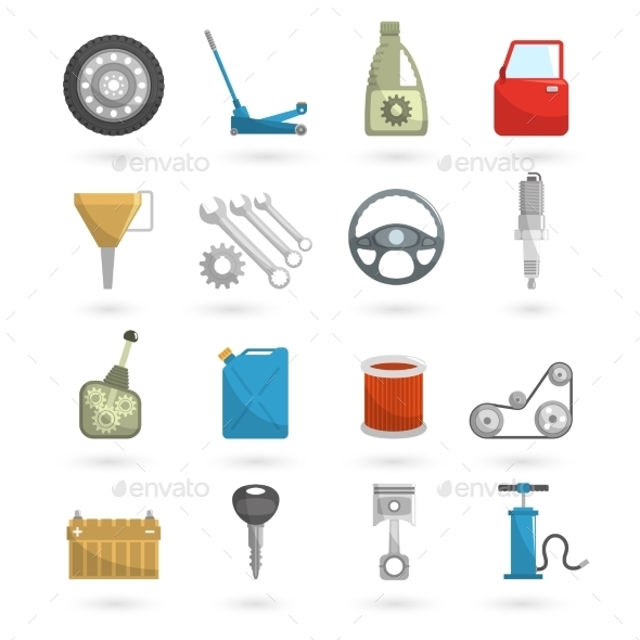 GraphicRiver Auto Service Icons Flat 10927694