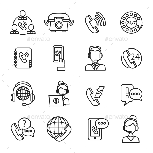 GraphicRiver Call Center Outline Icons Set 10927755