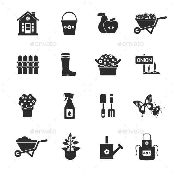 GraphicRiver Gardening Black Icons Set 10927757