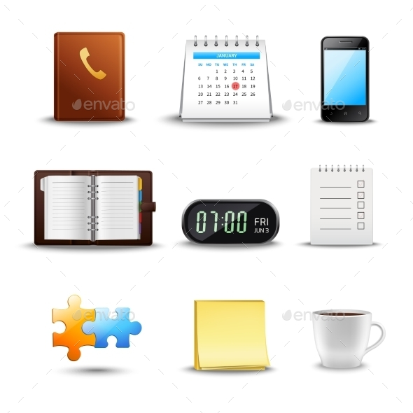 GraphicRiver Realistic Time Management Icons 10927759