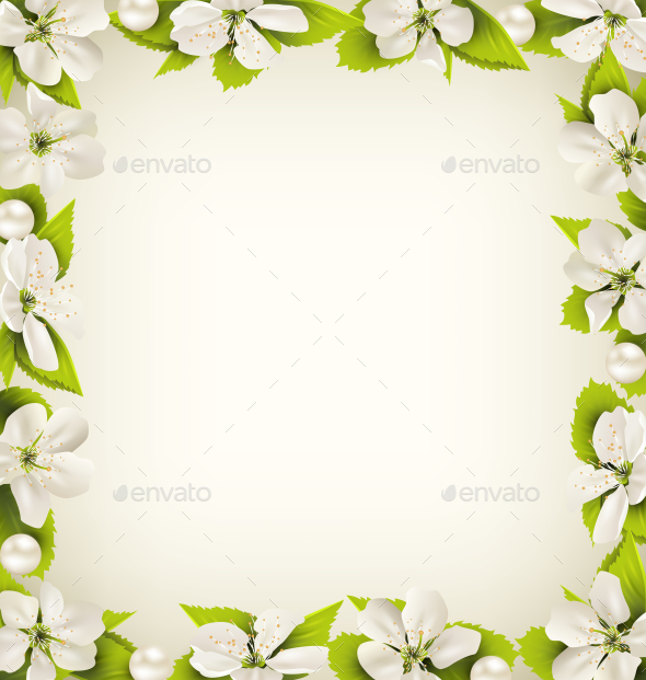 GraphicRiver Cherry Flowers with Pearl Beads like Frame 10928152