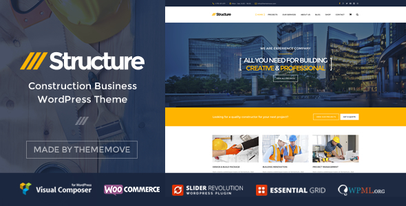 ThemeForest Structure Construction Business WordPress Theme 10798442