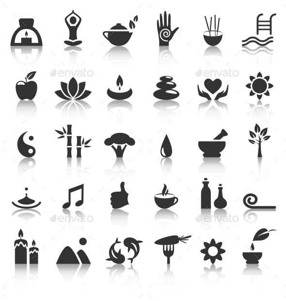 GraphicRiver Spa Yoga Zen Flat Icons with Reflection on White 10928382