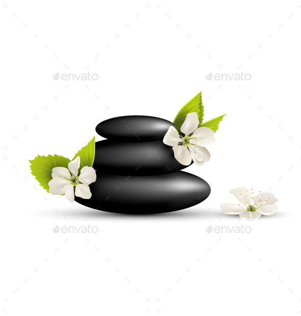 GraphicRiver Stack of SPA Stones with Cherry White Flowers 10928403