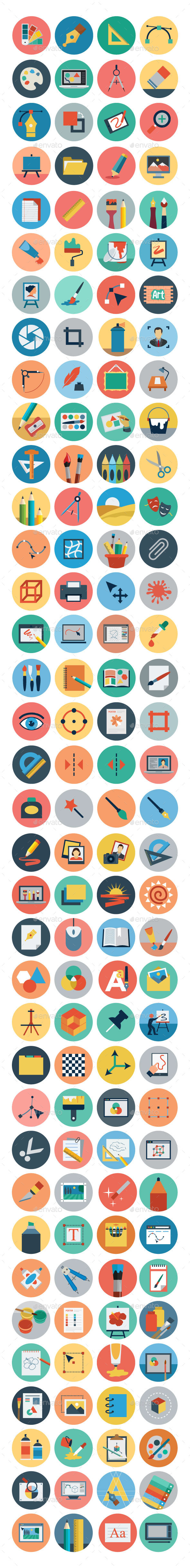 GraphicRiver 125& Flat Design Icons 10928406