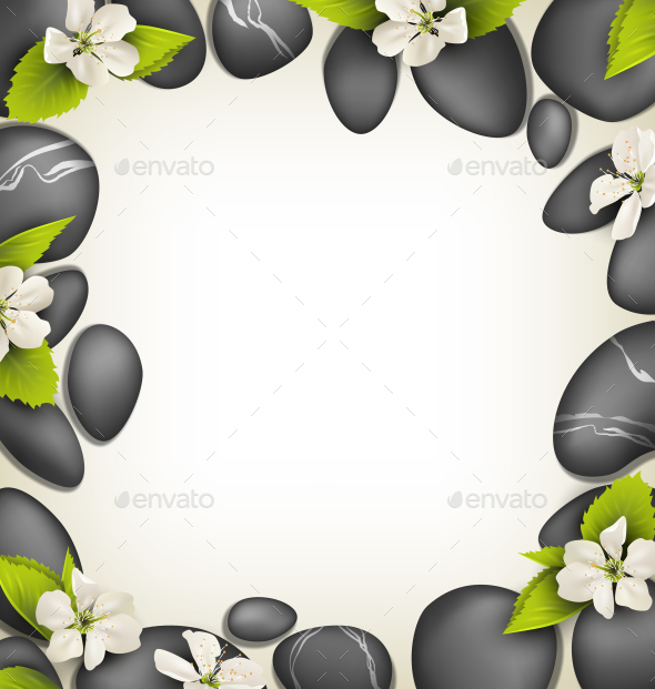 GraphicRiver SPA Stones with Cherry White Flowers like Frame 10928416