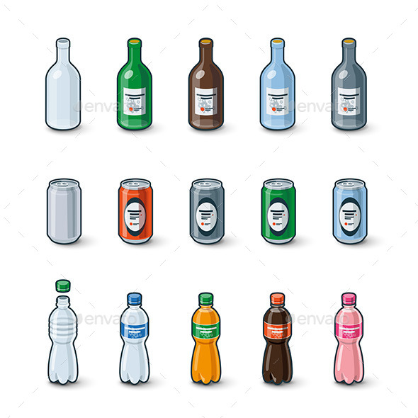 GraphicRiver Plastic Glass Bottles Aluminium Cans Illustration 10928462