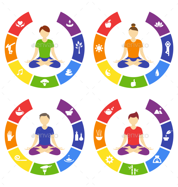 GraphicRiver Yoga Lifestyle Circles Set with People Isolated 10928504