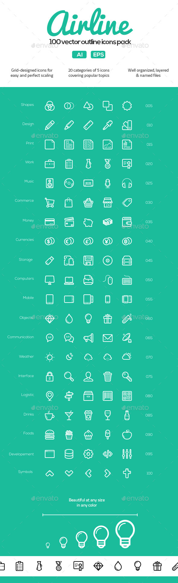 GraphicRiver 100 Vector Outline Icons Pack 10928704