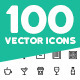 100 Vector Outline Icons Pack