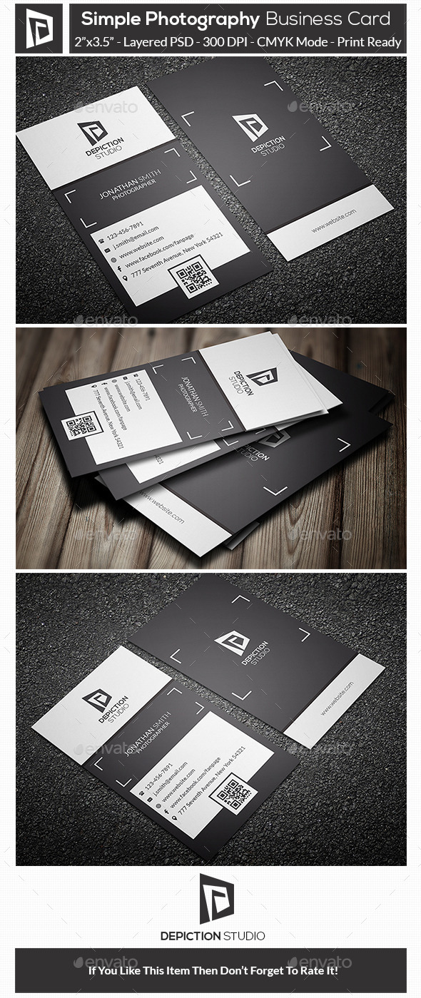 GraphicRiver Simple Photography Business Card 10929285