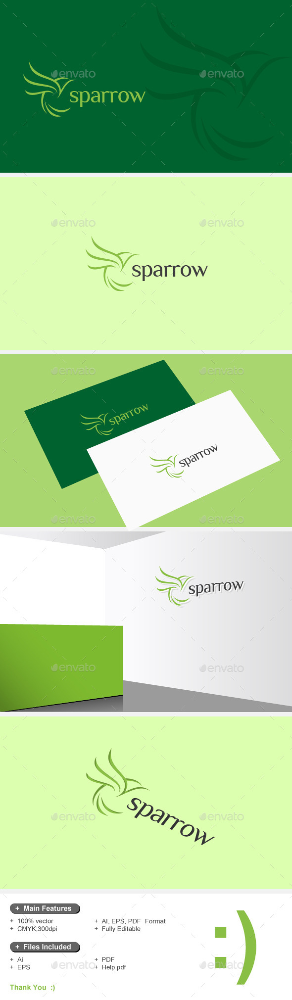 GraphicRiver Sparrow & Bird Logo 10929290
