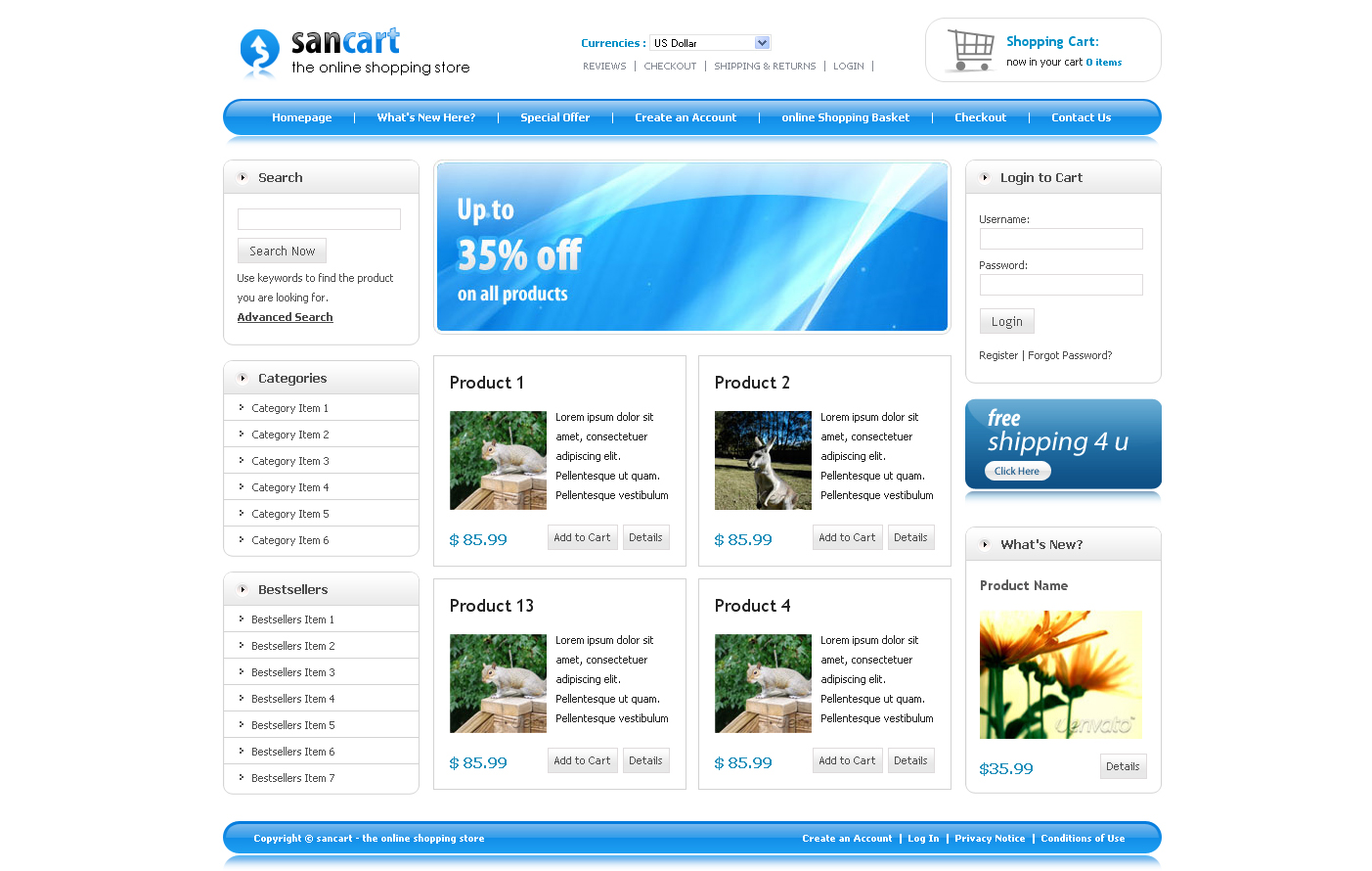 Sancart html shopping cart template by settysantu for Drupal 404 template
