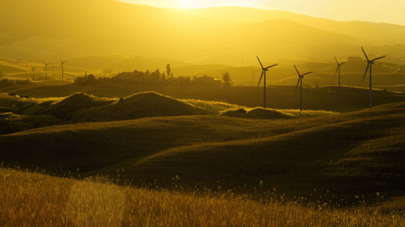 Wind Turbines on Countryside Fields at Sunset Time