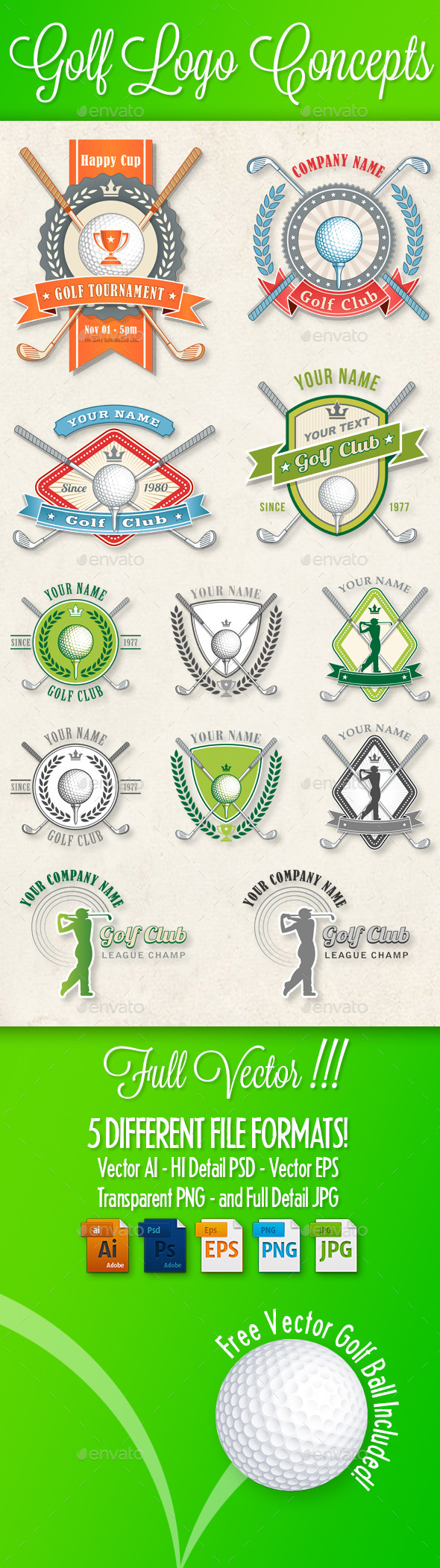 GraphicRiver Golf Logos and Concepts 10905718