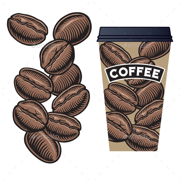 GraphicRiver Coffee Beans and Cup with Lid 10930251