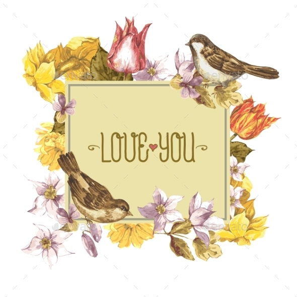 GraphicRiver Spring Floral Retro Card with Bird Sparrows 10930484