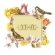 Spring Floral Retro Card with Bird Sparrows - GraphicRiver Item for Sale