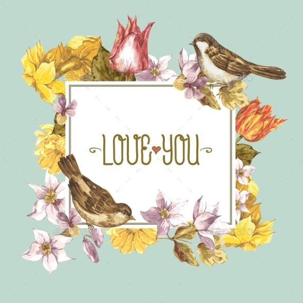 GraphicRiver Spring Floral Retro Card with Bird Sparrows 10930504