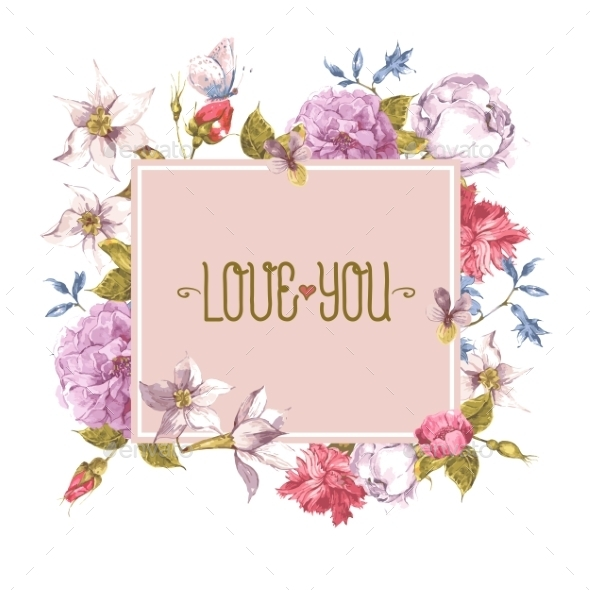 GraphicRiver Watercolor Greeting Card with Blooming Flowers 10930771