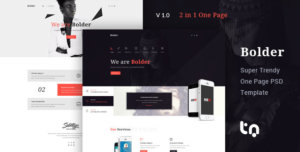 ThemeForest Bolder Trendy One Page PSD Template 10797350