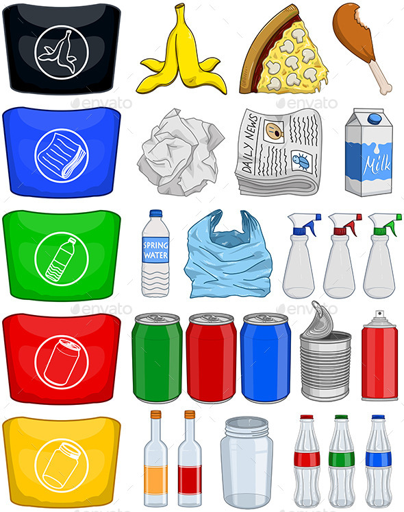 GraphicRiver Food Bottles Cans Paper Trash Recycle Pack 10931062
