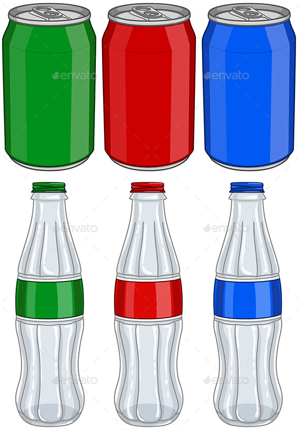 GraphicRiver Soda Cola Aluminium Cans Glass Bottles Three Color 10931074