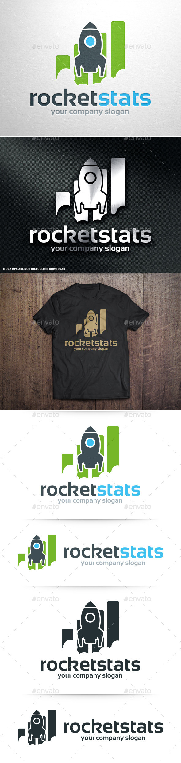 GraphicRiver Rocket Stats Logo Template 10931185
