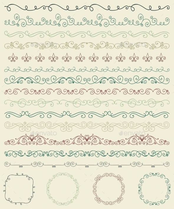 GraphicRiver Hand Sketched Borders and Frames Dividers Swirls 10931525