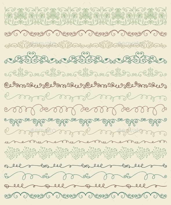 GraphicRiver Hand Sketched Borders and Frames Dividers Swirls 10931532