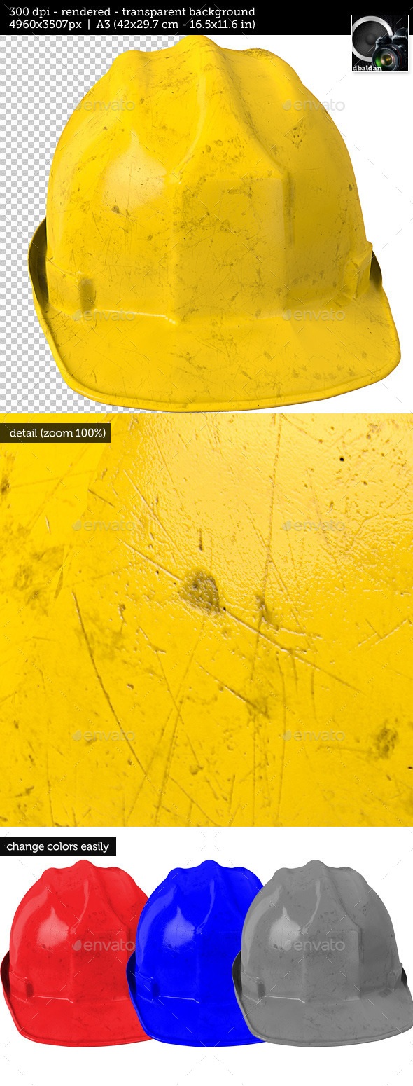 GraphicRiver Dirty Yellow Safety Helmet on Transparent Backgrou 10931978