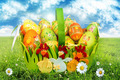 Basket With Easter Eggs On Green Grass - PhotoDune Item for Sale