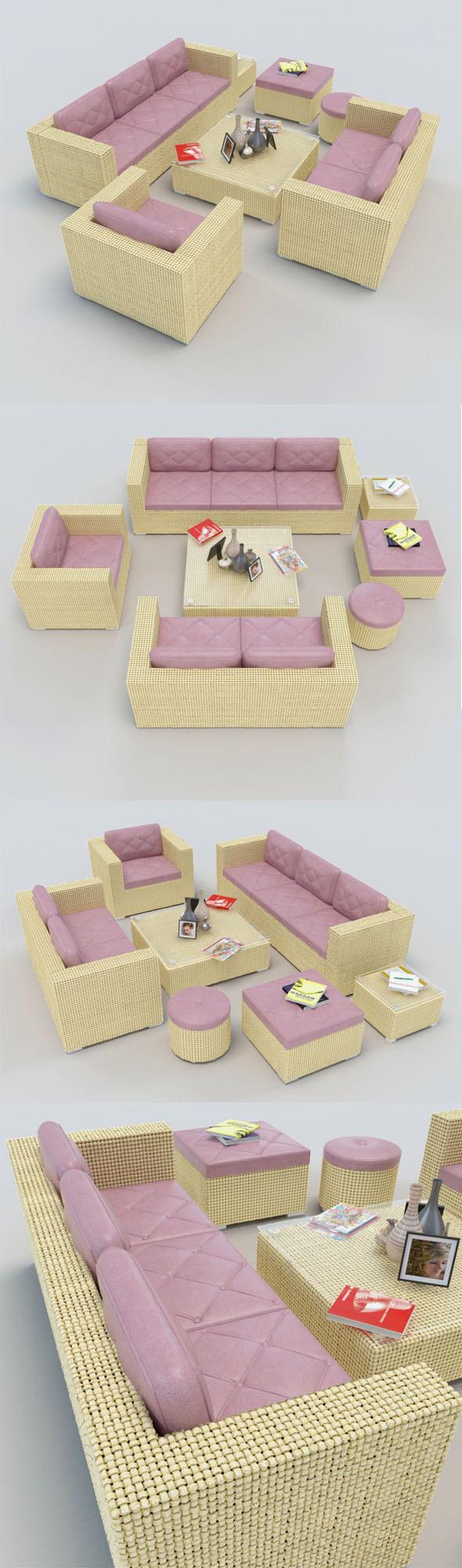 3DOcean Rattan Sofa set 1 10932064