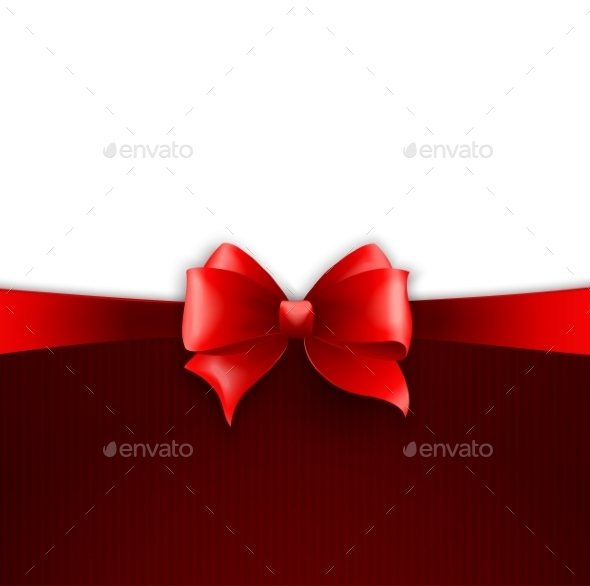 GraphicRiver Invitation Card with Red Holiday Ribbon and Bow 10932185