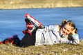 young girl in roller skates lays on the ground - PhotoDune Item for Sale