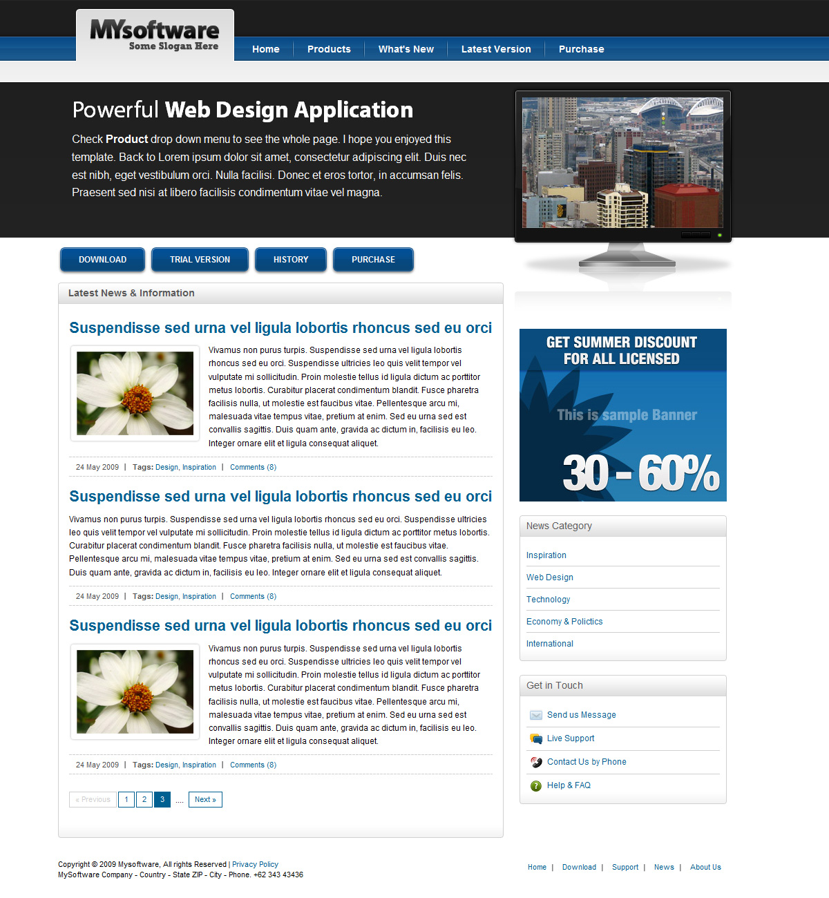 Clean Blue & Black Mac Style Software Template - Clean Blue & Black Mac Style Software Template - News Page