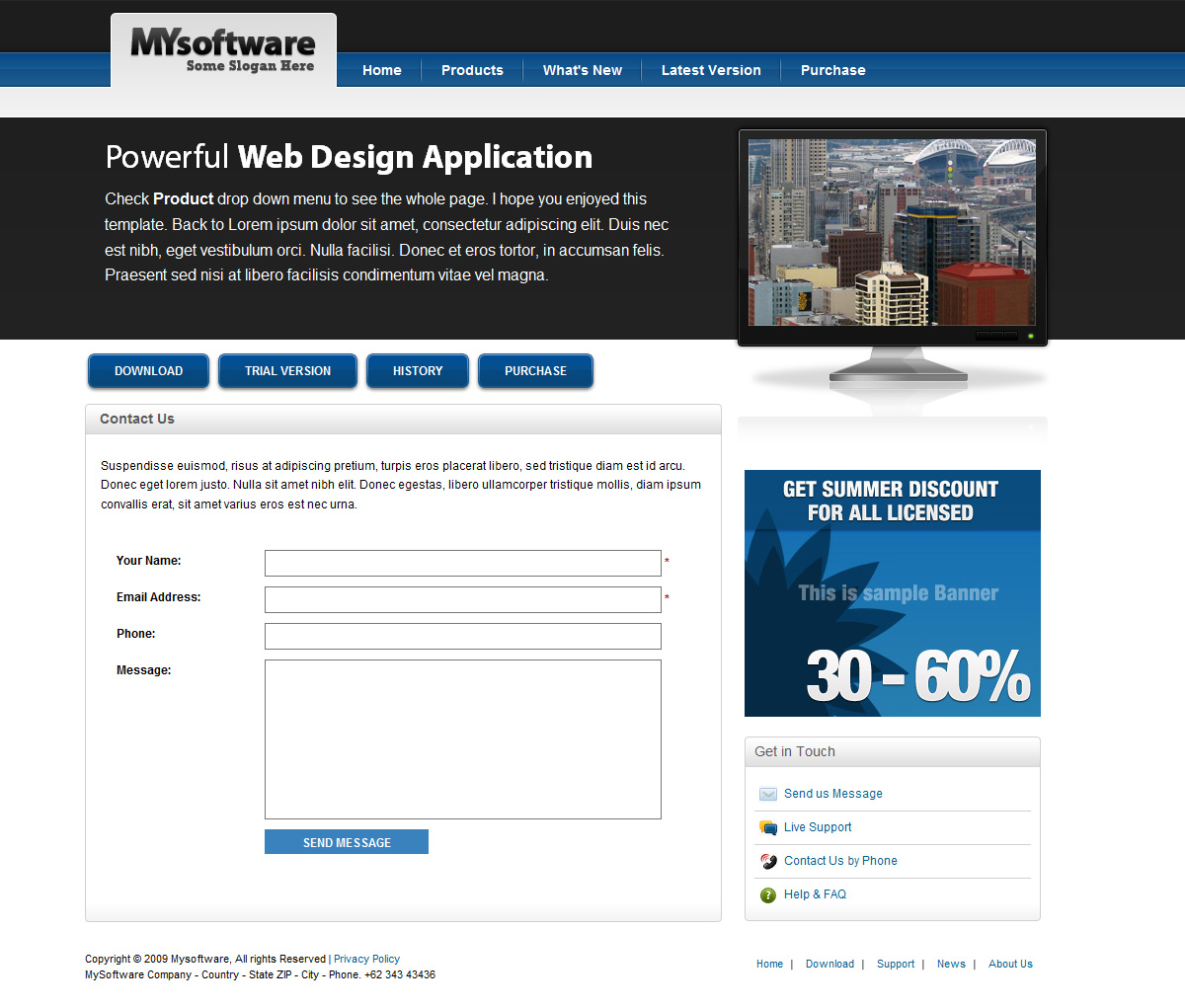 Clean Blue & Black Mac Style Software Template - Clean Blue & Black Mac Style Software Template - Contact Us Page