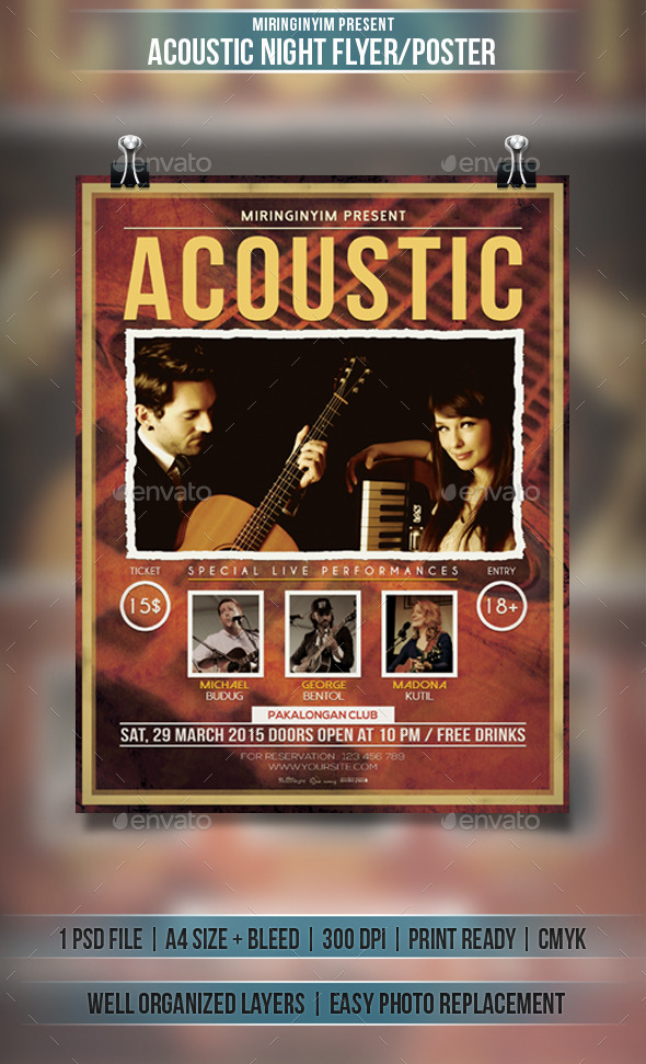 GraphicRiver Acoustic Night Concert Flyer Poster 10933592